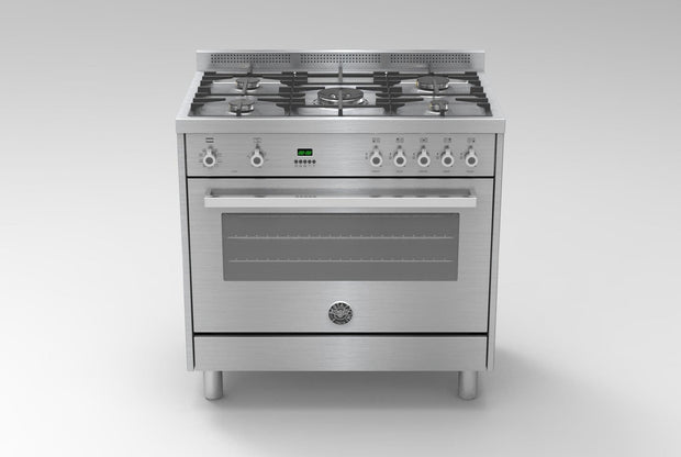 Bertazzoni 90x60 Professional Gas Cooker with Electric Oven, Steel - PRO905MFELXC (Made In ITALY)