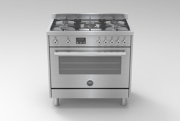 Bertazzoni 90x60 Gas Cooker, Electric Oven  with Dual Fan, Steel - PRO905MFELXE (Made In ITALY)