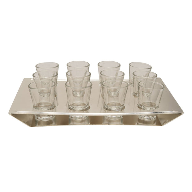 SILVER PLATED HOLDER WITH 12PC TUMBLER