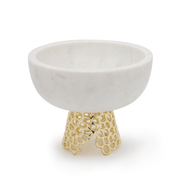 BRASS MESH BOWL SMALL WHITE MARBLE WITH GOLD FINISHED BRASS