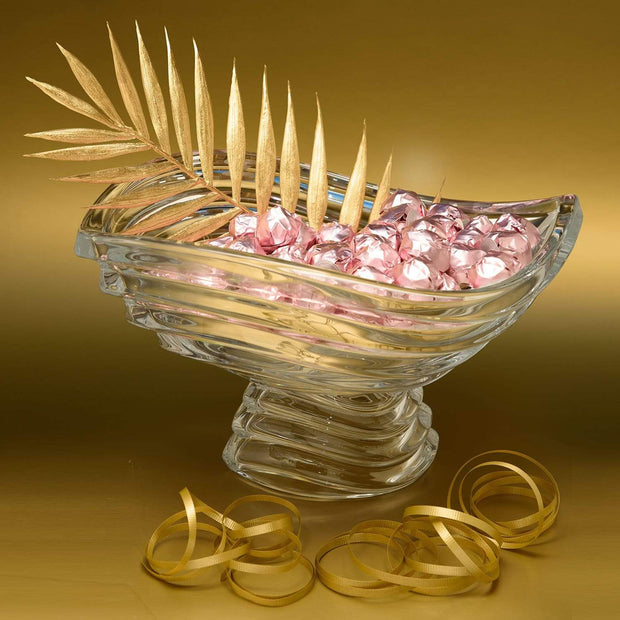 Bohemia Crystal Glass Wave Footed Bowl with 1kg Chocolate - 30.5 cm - 5391181