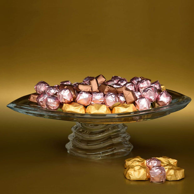 Bohemia Crystal Glass Wave Footed Plate with 1kg chocolate - 36 cm - 5391195
