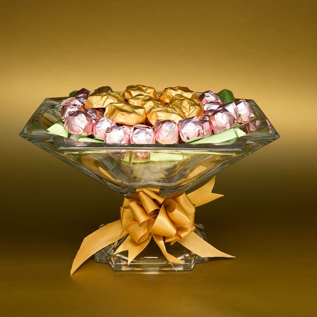 Bohemia Crystal Glass Metropolitan Footed Bowl with 1kg chocolate - 33 cm - 5390981