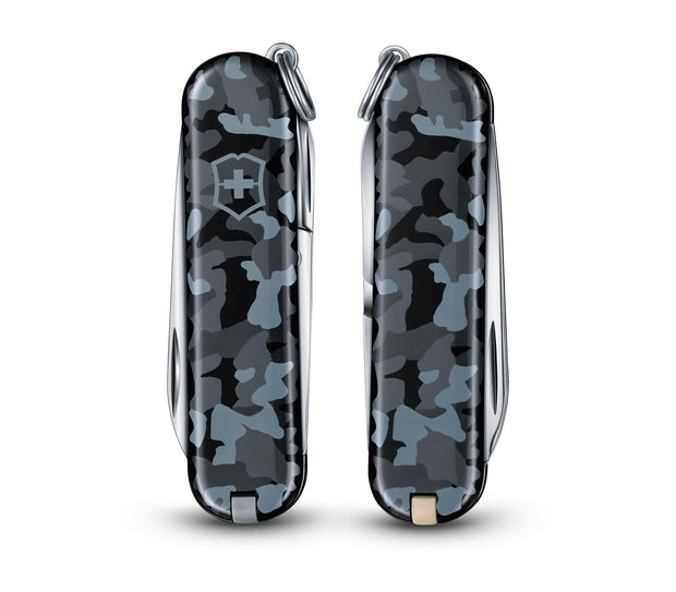 VICTORINOX SWISS ARMY KNIFE CLASSIC SD GRAY/BLUE NAVY CAMOUFLAGE WITH 7 FUNCTIONS - 0.6223.942