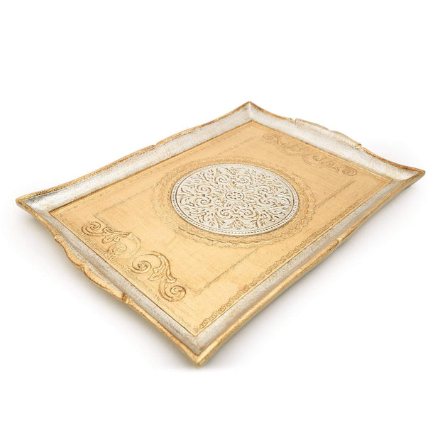 Sezzatini Franco Uberti Oro and Argent Rectangle Tray - 37 x 53 cm - VL-224-5-3323 - Jashanmal Home
