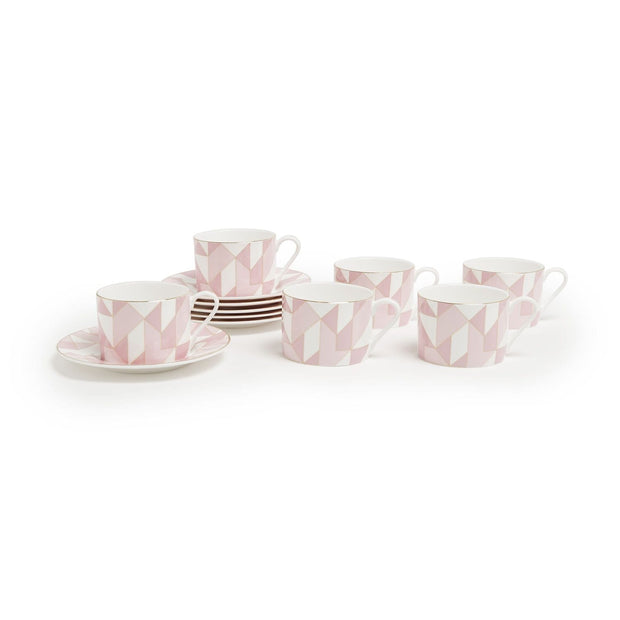 MARQUITE FINE BONE CHINA 12PC COFFEE CUP & SAUCER