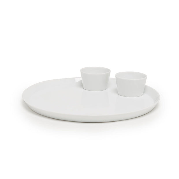 THALI TRAY W/ 2PC KATORI BOWL WHITE