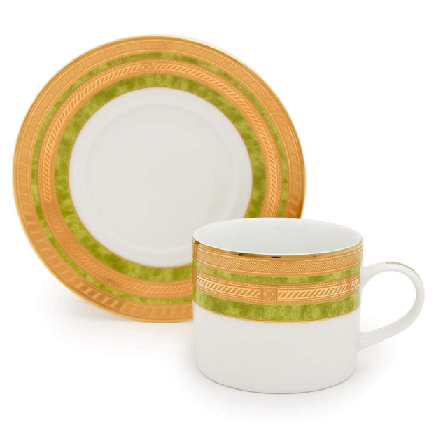 Dankotuwa Porcelain Berlinda Tea Cup and Saucer Set - Green and Gold, 6 Piece - BERGRN-687/689 - Jashanmal Home