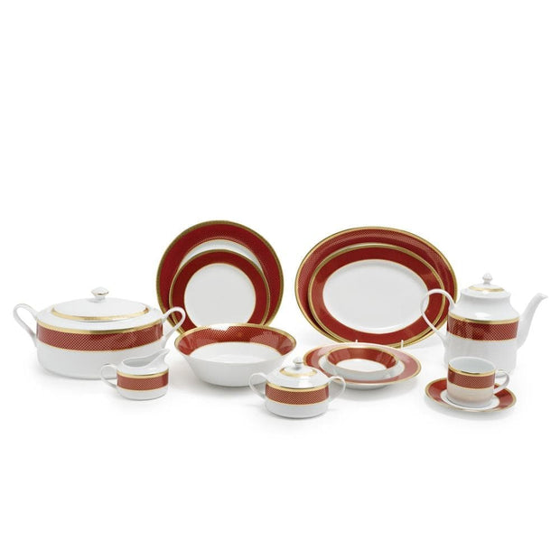 CHERIE RED 59PC DINNER SET