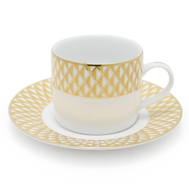 Dankotuwa Xenia Dinner Set - White and Gold, 59 Piece - XENA-59DS - Jashanmal Home