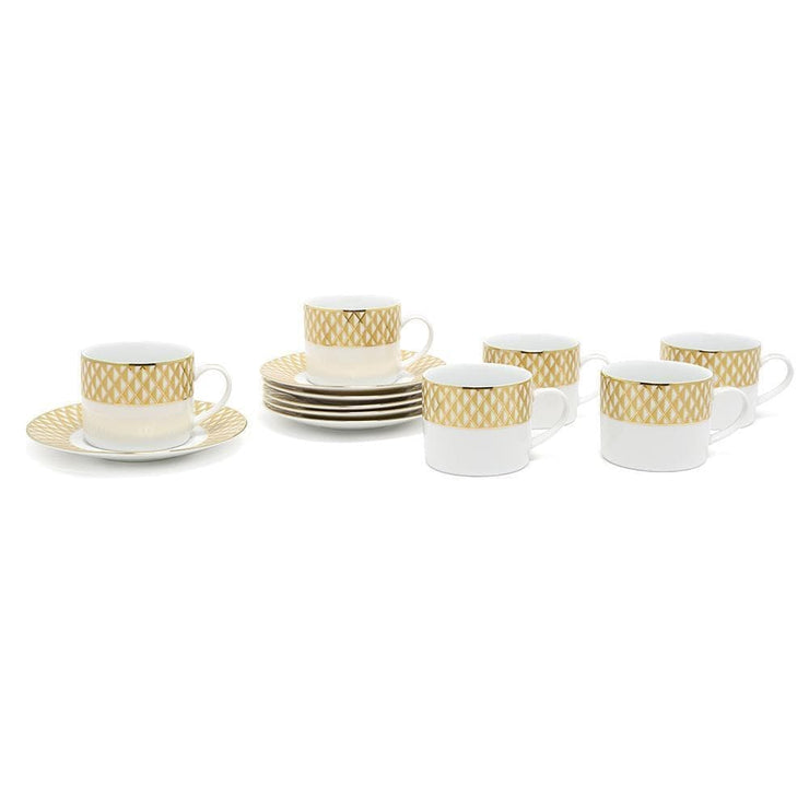 Dankotuwa Xenia Cup and Saucer Set - Gold and White, 12 Piece - XENA-687/689 - Jashanmal Home