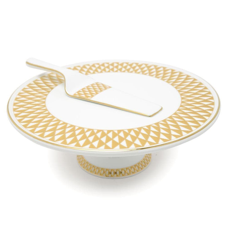 Dankotuwa Xenia 3 Tier Cake Stand - Gold and White - XENA-CS3T - Jashanmal Home