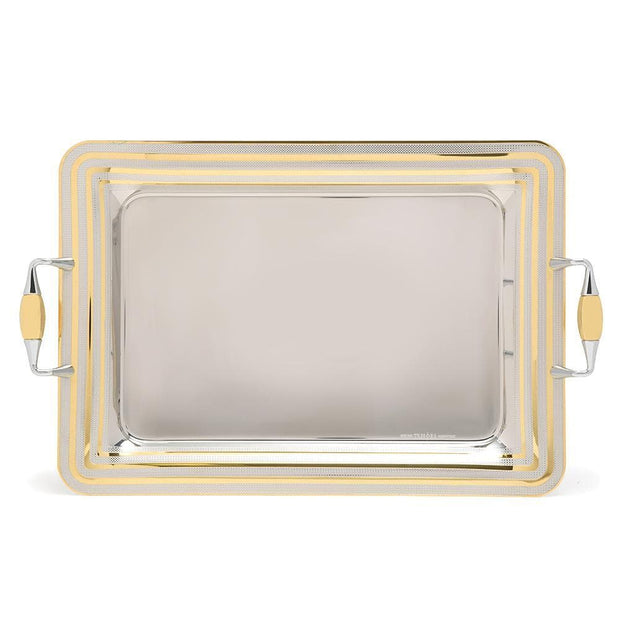 Brignani P.De Poule Gold Rectangle Tray - Silver and Gold, 40 x 28 cm - RO-1400/2/PDP-G - Jashanmal Home