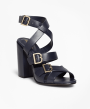 BROOKS BROTHERS SHOE TALL STCKD SANDAL NAVY WOMEN'S SHOES - 100055647