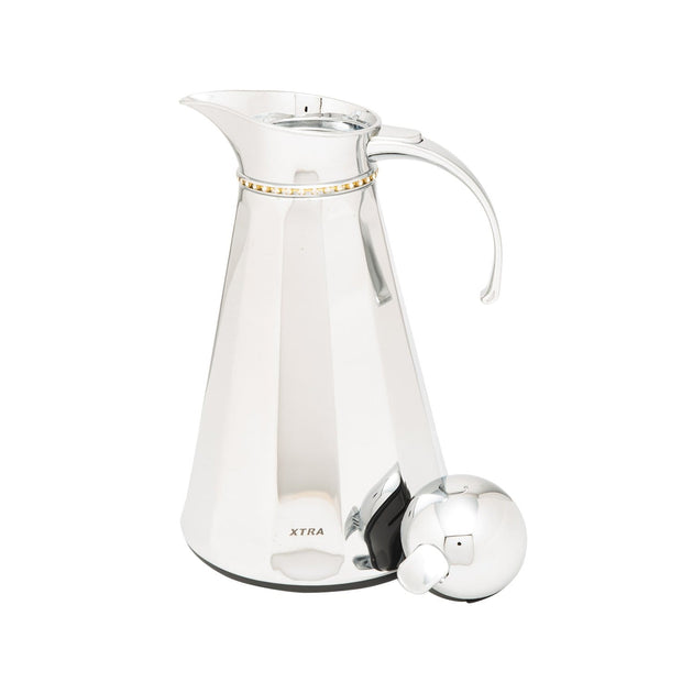 Xtra Peak Facet Vacuum Flask with Chain Glass Refill - Chrome, 1 Litre - V-1026R
