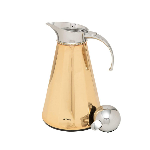 Xtra Peak Facet Vacuum Flask with Chain Glass - Gold, 1 Litre - V-1026RG
