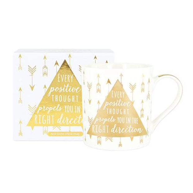Ashdene My Metallic WG Positive Mug - White and Gold - 516551