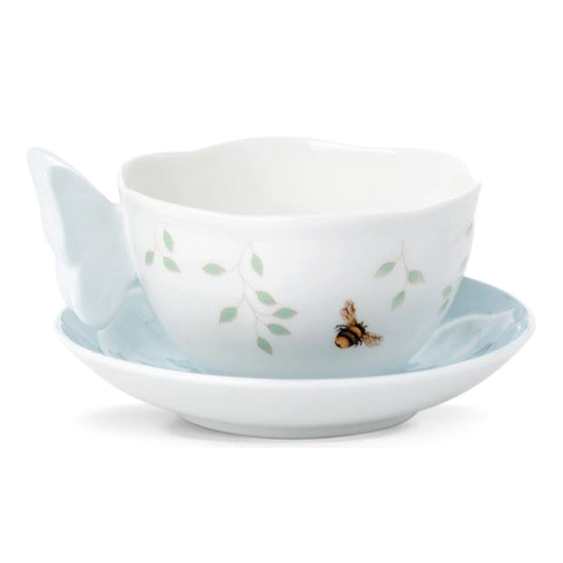 Ashdene Lenox Butterfly Meadow Figural Cup and Saucer - Blue and White - 806721