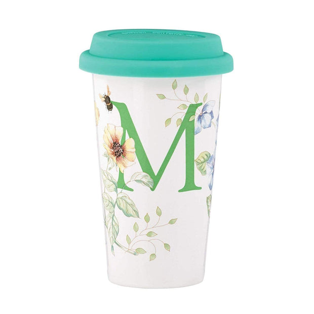 Ashdene Lenox Butterfly Meadow Initial M Thermal Travel Mug - White - 848491