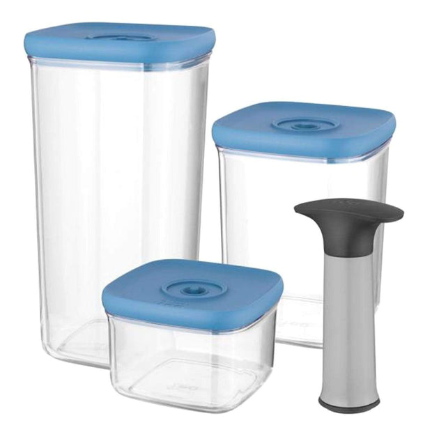 BergHoff Leo 4 Piece Vacuum Food Container Set - Blue and Clear - 3950128 - Jashanmal Home