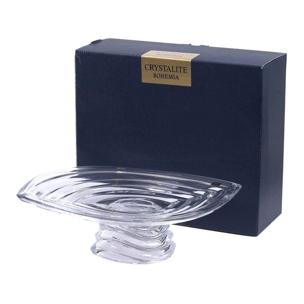 Bohemia Crystal Glass Wave Footed Plate - 36 cm - 5391195 - Jashanmal Home