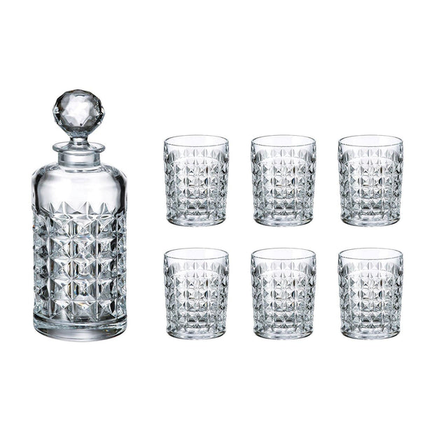 Bohemia Crystal Glass Diamond Whiskey Set - Clear - 5391265 - Jashanmal Home