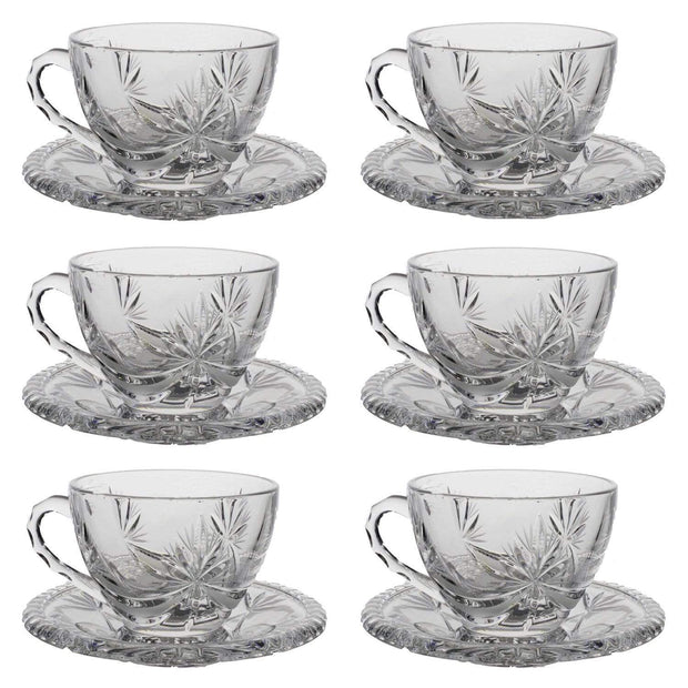 Bohemia Crystal Glass Sherine Cup and Saucer Set - Clear, 17002_621 - 5392128