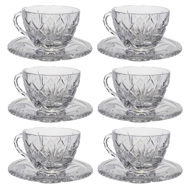 Bohemia Crystal Glass Sherine Cup and Saucer Set - Clear, 26008_623 - 5392132