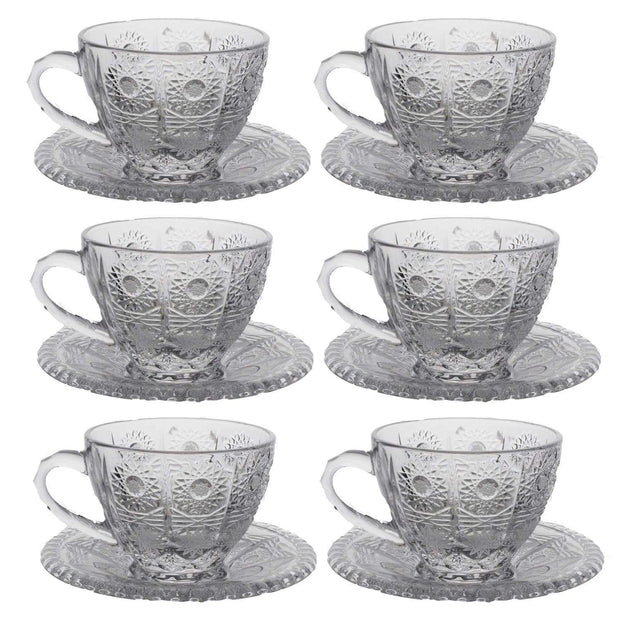 Bohemia Crystal Glass Sherine Cup and Saucer Set - Clear, 57001_625 - 5392149