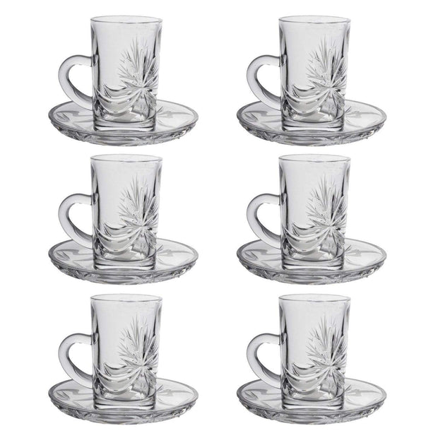 Bohemia Crystal Glass Yasmin Hand Cut Cup and Saucer Set - Clear, 17002_439 - 5385817 - Jashanmal Home