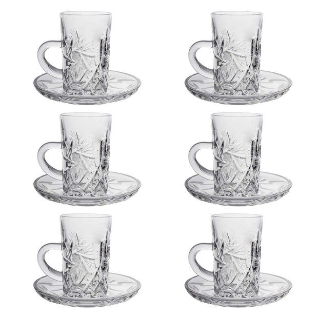 Bohemia Crystal Glass Yasmin Hand Cut Cup and Saucer Set - Clear, 26008_438 - 5385823 - Jashanmal Home