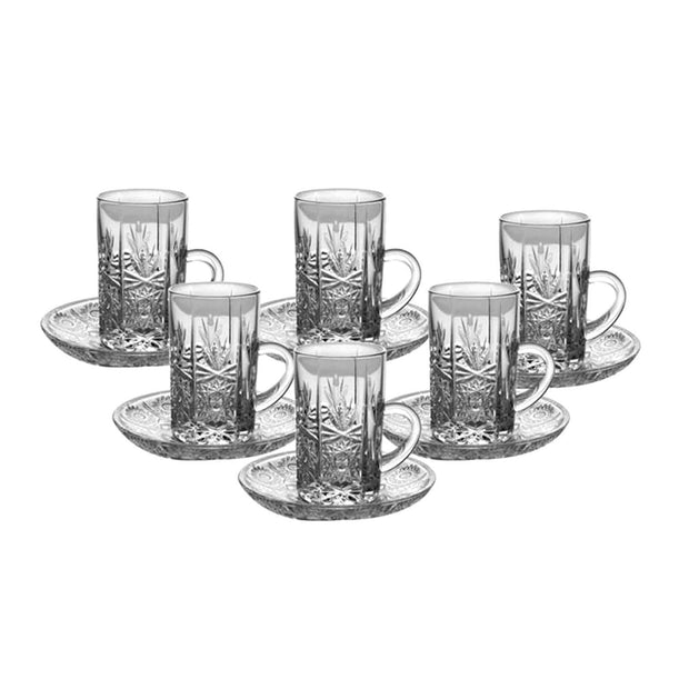 Bohemia Crystal Glass Yasmin Hand Cut Cup and Saucer Set - Clear, 57001_437 - 5385838 - Jashanmal Home