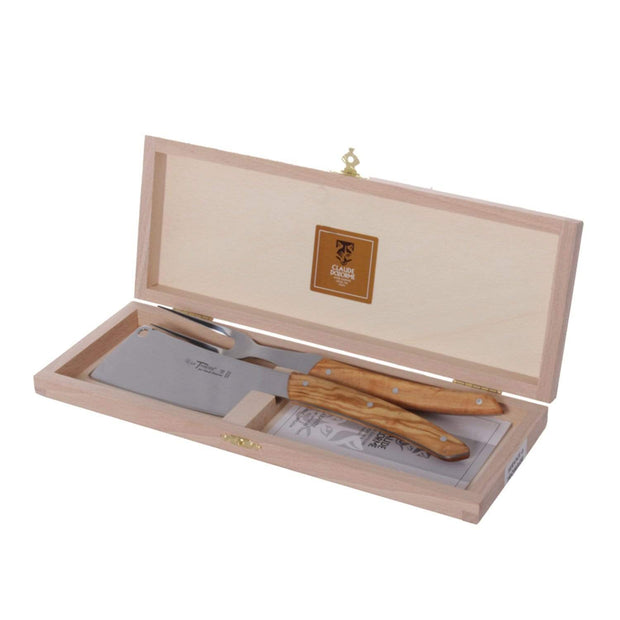 Claude Dozorme Thiers Cheese Knife and Fork Set with Olive Wood Handle - 2.90.024.89 - Jashanmal Home