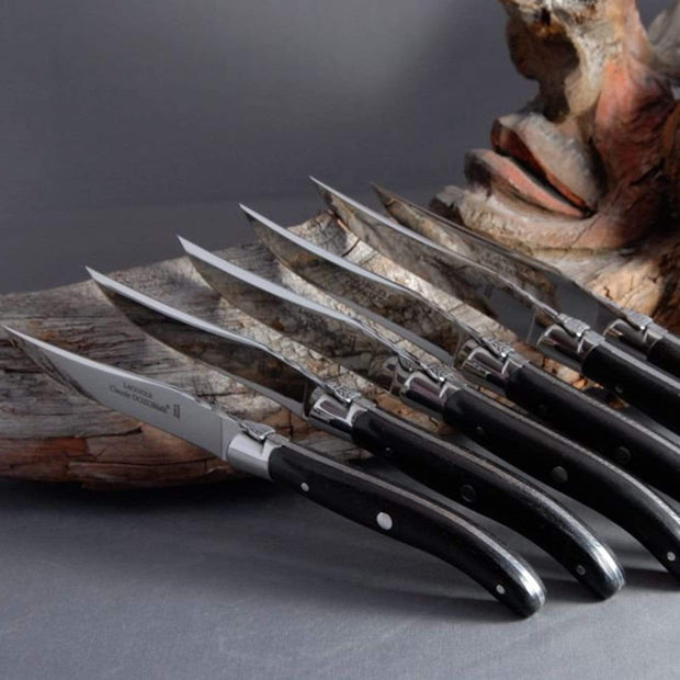 Claude Dozorme Laguiole Steak Knife Set with Ebony Handle and Shiny Bolster - 6 Pieces - 2.60.001.70 - Jashanmal Home