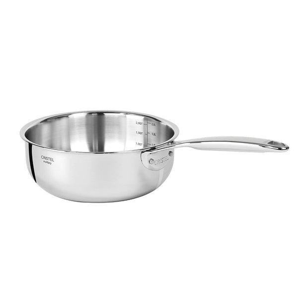 Cristel Castel Pro Multi-Ply 22 cm Saucepan with Fixed Handle - Silver - C22CPF - Jashanmal Home