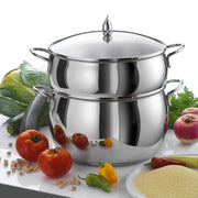 Cristel Medina Round 26 cm Couscous Pot with Glass Lid - Silver, 26 cm - CC26MEB - Jashanmal Home