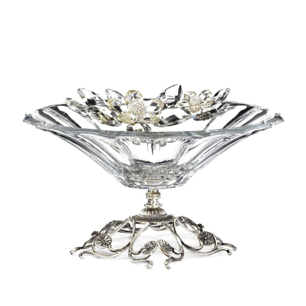 Debora Carlucci Crystal Flowers Glass Bowl with Metal Base - DC5544 - Jashanmal Home