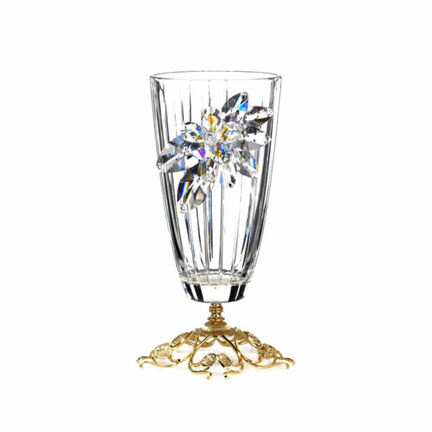 Debora Carlucci Crystal Flowers Glass Vase with Metal Base - DC5546 - Jashanmal Home