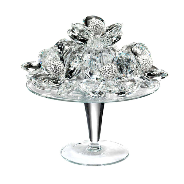 Debora Carlucci Glass Riser with Crystal Flower and Strass Spheres - DC5504 - Jashanmal Home