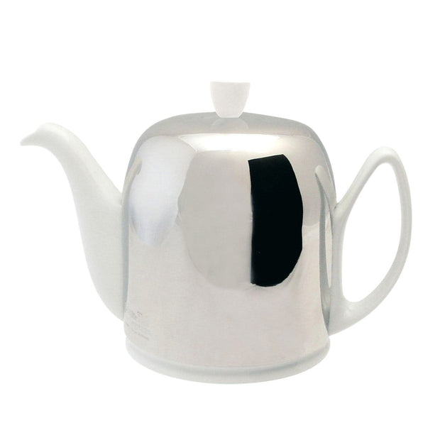 Degrenne Salam 6 Cups Teapot with Shinny Bell - Silver and White - 211989 - Jashanmal Home