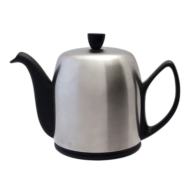 Degrenne Salam 8 Cups Teapot with Matt Bell - Silver and Black - 211994 - Jashanmal Home