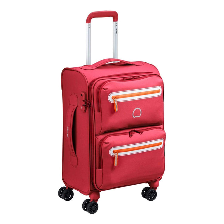 Delsey Carnot 4 Double Wheel Cabin Trolley Bag - Pink, 55 cm - 00303880109 PINK - Jashanmal Home