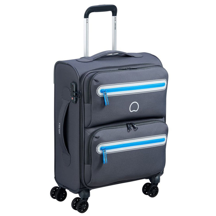 Delsey Carnot 4 Double Wheel Cabin Trolley Bag - Grey, 55 cm - 00303880111 GREY - Jashanmal Home