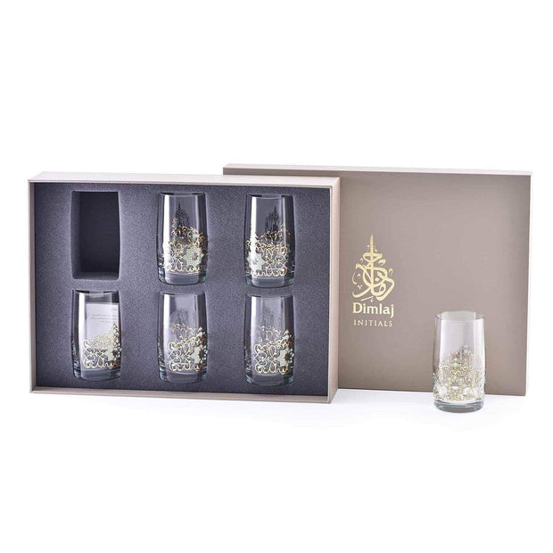Dimlaj Regal Tumbler - Gold and Green, Set of 6 - 20788 - Jashanmal Home