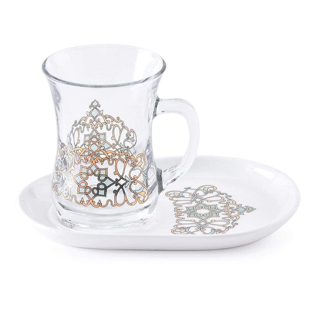 Dimlaj Regal Mug and Saucer - Gold and Green, Set of 4 - 20838 - Jashanmal Home