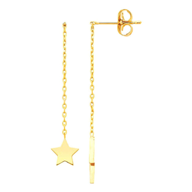 Estella Bartlett Gold Plated Star and Lightning Bolt Chain Drop Earrings - EB1962