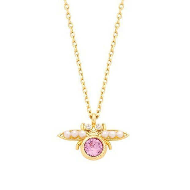 Estella Bartlett Gold Plated Pink Cubic Zirconia and Pearl Wing Bug Necklace - EB2424C - Jashanmal Home