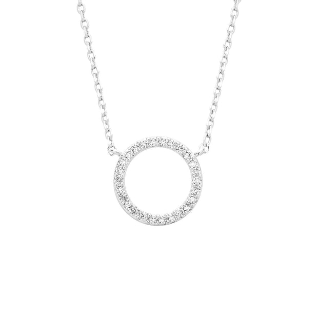 Estella Bartlett Silver Plated Circle Necklace with Cubic Zirconia - EB2487C - Jashanmal Home