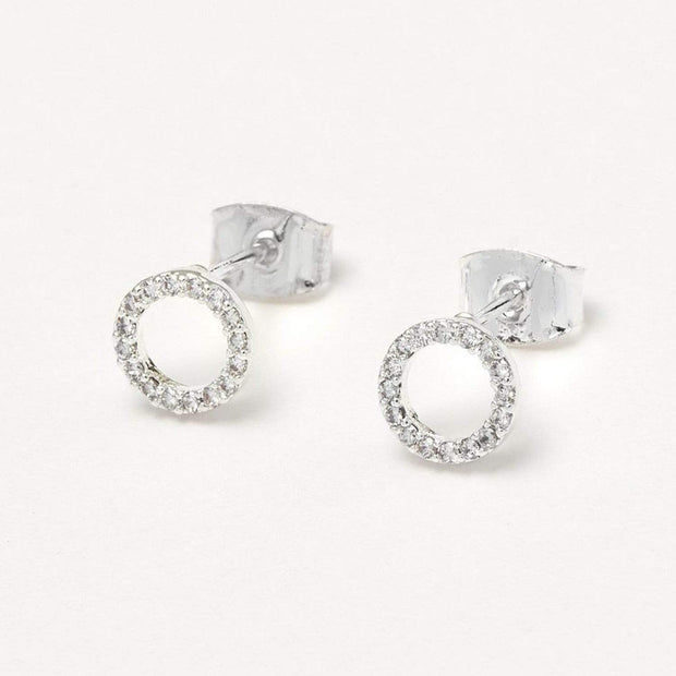Estella Bartlett Silver Plated Circle Stud Earrings with Cubic Zirconia - EB3120 - Jashanmal Home