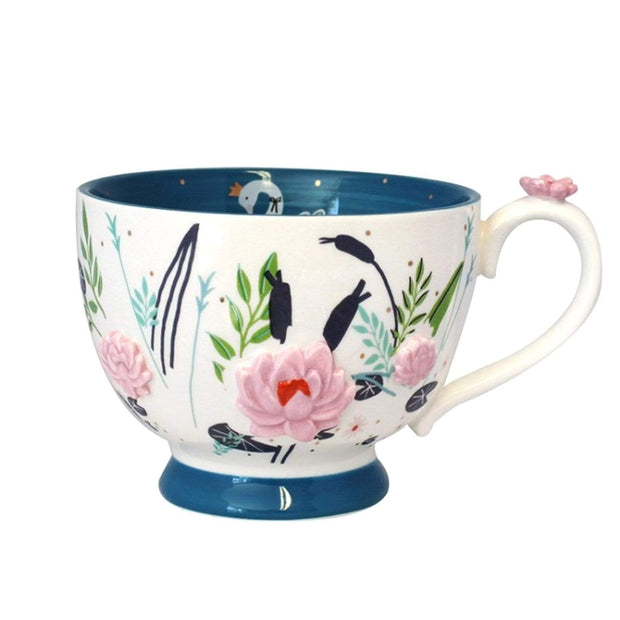 Disaster Designs Secret Garden Swan Teacup with Gift Box - White and Blue - SECCUPSWA